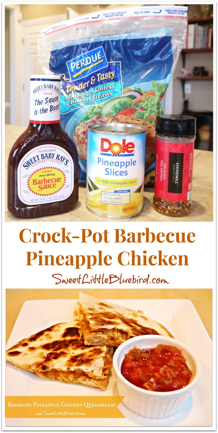 CROCK-POT BARBECUE PINEAPPLE CHICKEN: So many things you can make - BBQ sandwiches, quesadillas or throw it over some rice with vegetables! Great leftovers! | SweetLittleBluebird.com