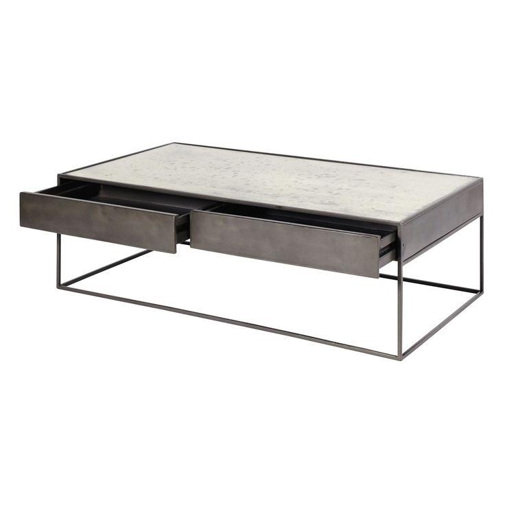 Table basse en fer gris et verre trempé | Maisons du Monde