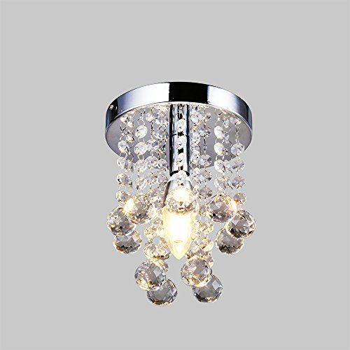 Flush Mount K9 Crystal / Mini Style Modern Chandelier Material:K9 Crystal,Stainless Steel Bulb Included,1x7w LED bulb.Easy to Install!,equal to 60w incandescent light bulb