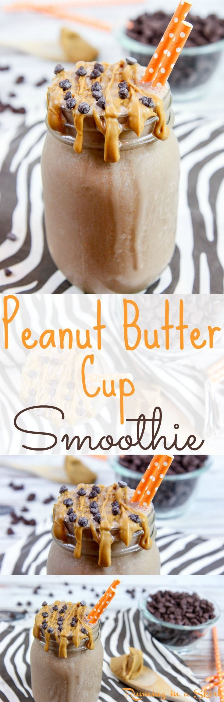 Healthy Peanut Butter Cup Smoothie recipe! Uses frozen banana, cocoa powder, powder peanut butter and ice cubes in the blenders to make a delightful healthy smoothie that is actually good for you! The perfect peanut butter and chocolate combination -- so good! / Running in a Skirt