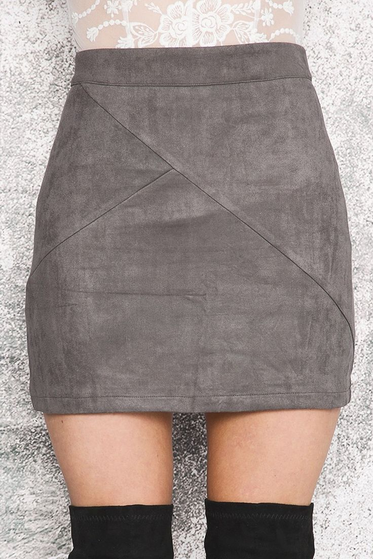 The Luanne skirt is an ultra sexy high waisted mini including patchwork detailing throughout. Pair with a crop top, bomber jacket and thigh high boots for an amazing look. Features Include: - 100% Lux #suede #mini #skirt #fashion #ootd #short #gray #grey #skirts #sexy #clothing #style #shop