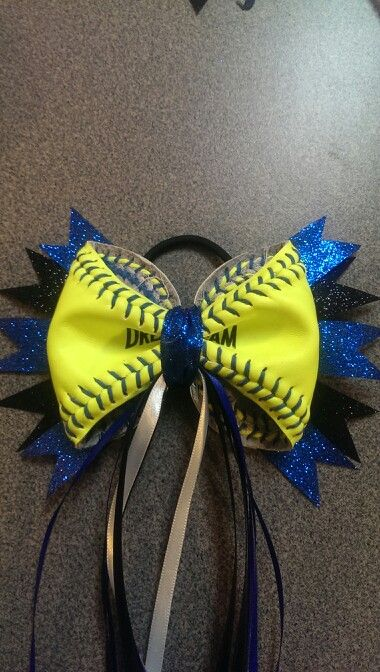 Black and Blue...Black and Blue! Love it! Softball Hair Bow / Ribbons!
