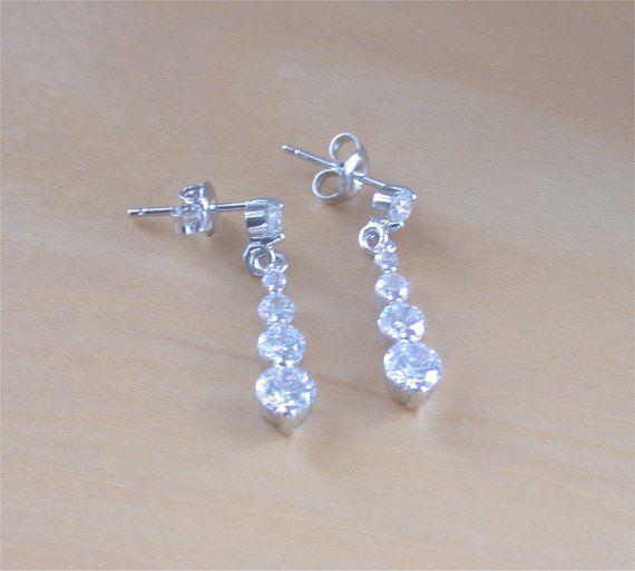 925 Cubic Zirconia Drop Earrings/925 by joannasjewellerycouk