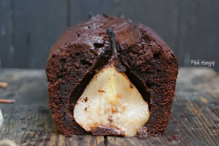 chocolate truffle cake with rum & cardamon poached pears