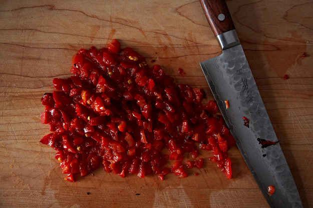The chopped pimientos should be about this size. | How To Make The Best-Ever Pimiento Cheese