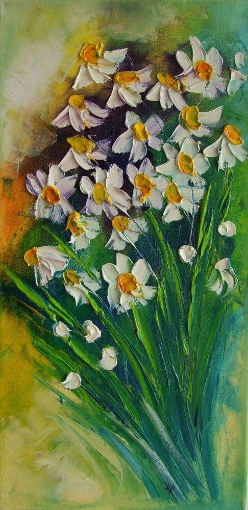White Daisies IMPASTO Original Oil Painting Impression Europe Artist Flowers #ImpressionismImpasto
