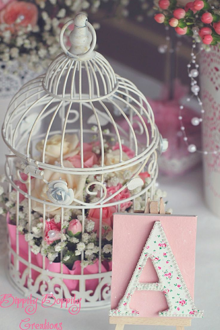 shabby chic bird cage... I like the tissue paper bottom