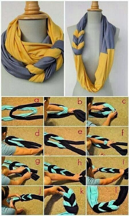 DIY Infinity scarf. This would make a beautiful and original present. Just follow the steps in the picture