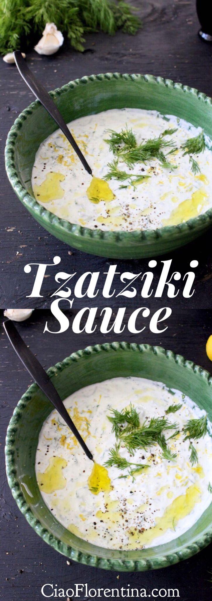 Tzatziki Sauce Recipe with Thick Greek Yogurt, Garlic, Cucumber and Lemon | CiaoFlorentina.com @CiaoFlorentina