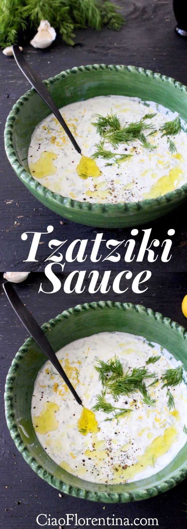 Tzatziki Sauce Recipe with Thick Greek Yogurt, Garlic, Cucumber and Lemon | CiaoFlorentina.com @CiaoFlorentina