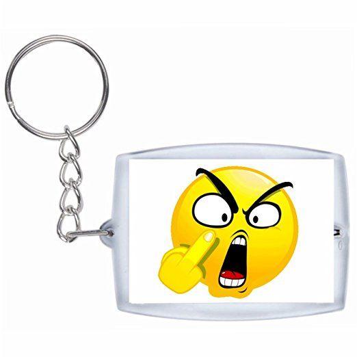 """Schlüsselanhänger """"Böses/Verärgertes Gesicht mit Stinkefinger"""" Rucksackanhänger, Taschenanhänger, Keyring, Emoji, Smiley, Exklusiv"""
