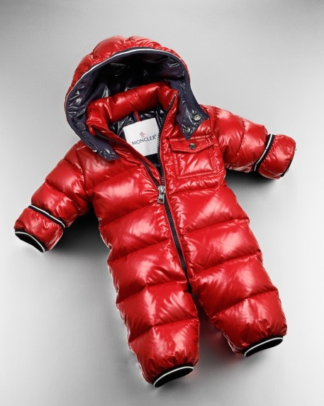 For their first day of ski school: Moncler's red quilted snowsuit. 212 872 2851