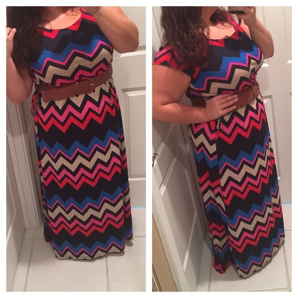 Plus size chevron maxi Brand new. Elastic waist. No trades. All reasonable offers welcome NOT torrid just used for exposure torrid Dresses Maxi