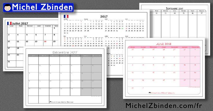 Découvrez les nombreux modèles de calendriers offerts sur MichelZbinden.com pour 2017 et 2018 : des calendriers avec jours fériés pour la Belgique, le Canada, la France et la Suisse; des calendriers universels annuels, mensuels ou hebdomadaires.