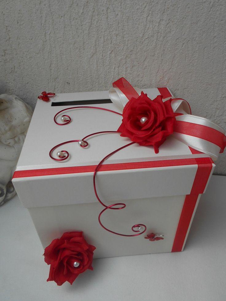 Urne pour mariage - ivoire et rouge - roses rouges