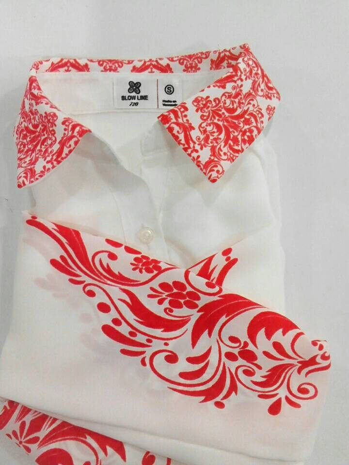 Blusas blancas, Blusas mujer, Blusas manga larga, Blusas con cuello, Estampado damasco, Estampado en rojo, Blusas por tallas, Blusas de seda