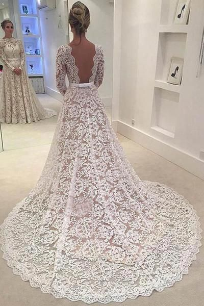 Elegant Wedding Dresses,A-line Bridal Dress,Lace Wedding Dresses,Backless Wedding Dress With Court Train,Long Sleeves We…