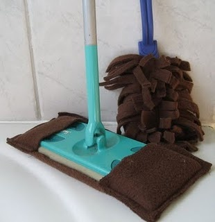 """Make your own """"Better than Swiffer"""" Dusters. Microfiber seems to work best, it really grabs the dust. You can usually finds sheets of it in the car cleaning section. You can also easily make swiffer mop covers too, by just measuring a rectangle about twice as long as the mop, folding over the ends to fit it and sewing them in place."""