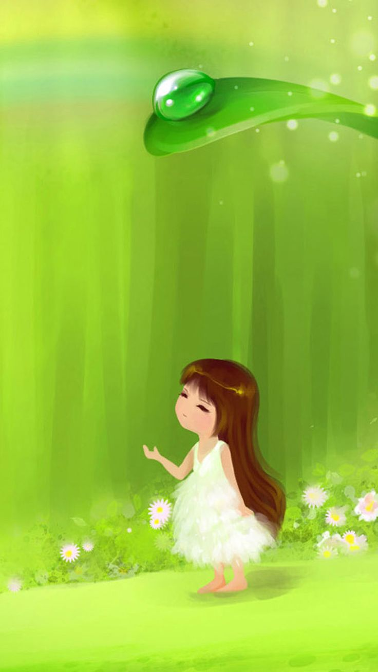 Cute little cartoon girl iphone android mobile wallpaper - Cartoon girl wallpaper ...