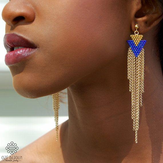 Boucles d'oreilles Arrow Ozé Bijoux longues en perles par OzeBijoux, €53.00