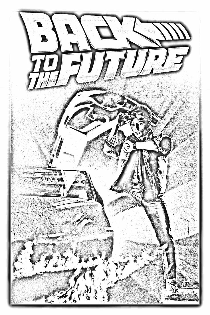 Back To The Future Coloring Page Free Adult Coloring