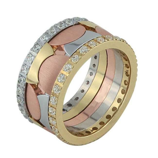 Stunning One kt tri color gold fort eternity ring This wedding band holds