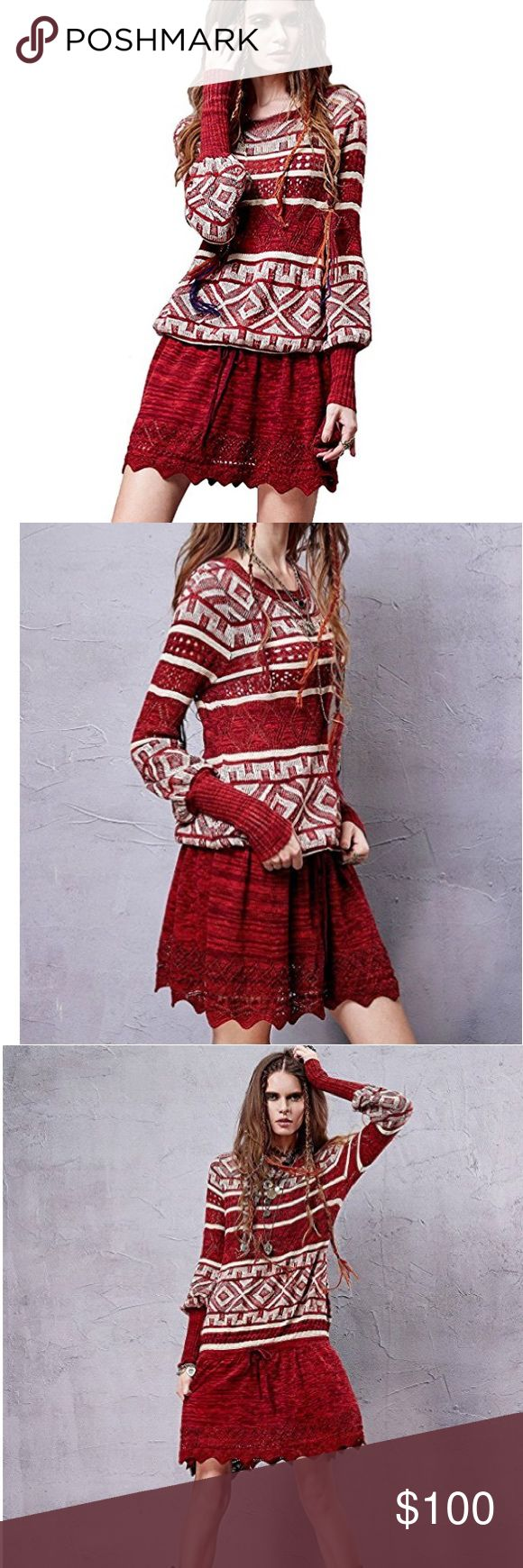 Red Sun Sweater Dress New Today! What are the Holidays without a red sweater? This style can be worn as either er a mini dress or as a tunic. Drawstring creates a blouses silhouette. One Size. Measurements in pictures. Please ask any questions before purchase. Thanks! 💙🌙🎩 Sweaters Crew & Scoop Necks