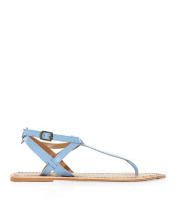 Light Blue Leather Strappy Flat Sandals New Look £12.99