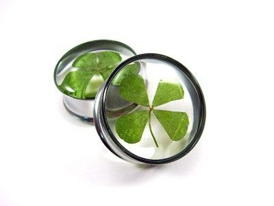 Four leaf clover gauges. These would have been awesome, back when I had stretched ears...