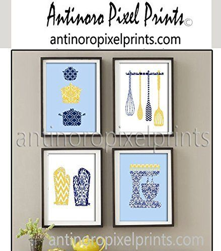 Wall Art Damask Kitchen Tools Mixer Pots Oven Mitts Navy Blue Mustard Yellow White Art Collection -Set of (4) 8x10 Prints (Unframed). Wall Art Kitchen Tools Mixer Pots Oven Mitts Navy Blue Mustard Yellow White Art Collection -Set of (4) 8x10 Prints (Unframed).