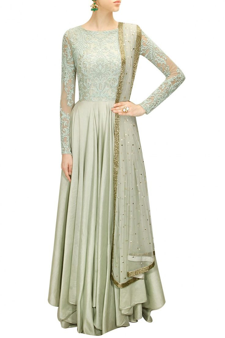 Pale blue floral embroidered anarkali set available only at Pernia's Pop-Up Shop.