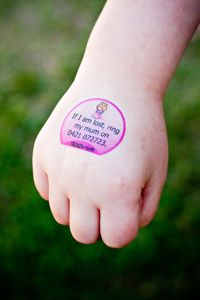 Custom Temporary Safety Tattoo that speaks for you or your child when you aren't able to.