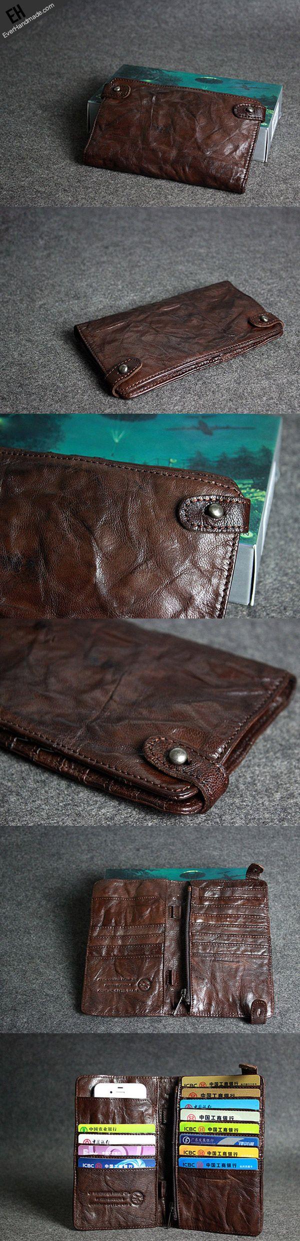 Handmade leather men clutch coffee vintage zip clutch men long wallet | EverHandmade