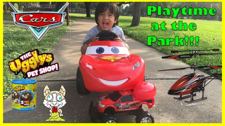 cool Disney Cars Lightning McQueen Power Wheels Playtime at the park Surprise Egg Toys Ryan ToysReview