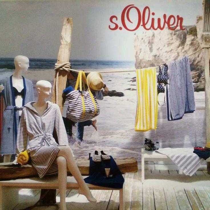 Marynarski ręcznik plażowy s.OLIVER w biało-niebieskie pasy - NieMaJakwDomu