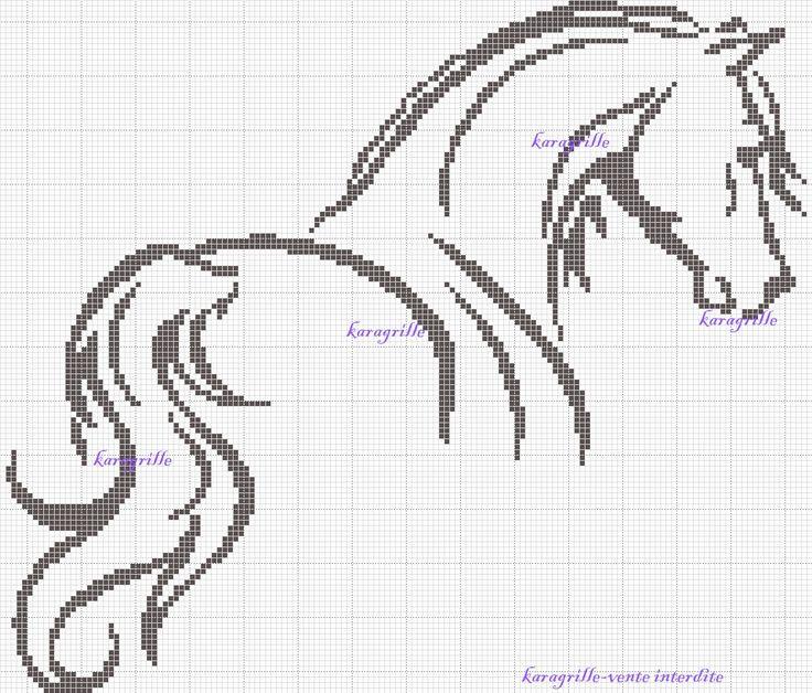 free- Horse cross stitch  ook mooi om zo over te tekenen en te schilderen