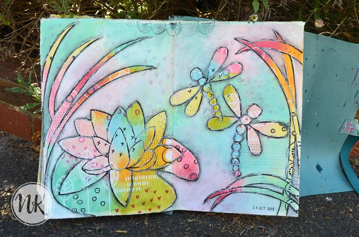 Nat's art journal 24th October 2015 - playing with gelatos