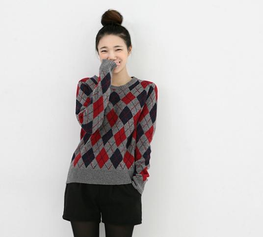 grey tartan sweater, see more on thehallyu.com