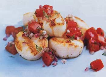 Grilled Scallops with Tomato-Onion Relish Recipe | Epicurious.com
