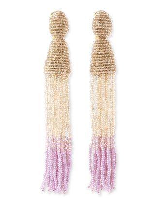 Oscar de la Renta Long Ombre-Beaded Tassel Earrings, Almond/Cream/Lilac