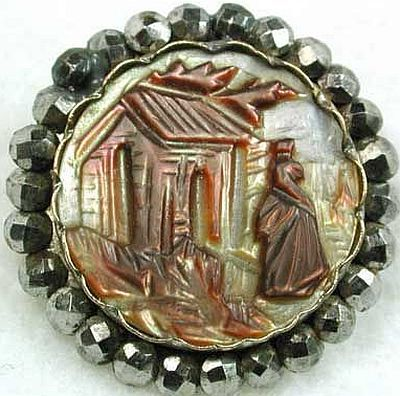 Mother of Pearl Button with Cut Steels Rim.