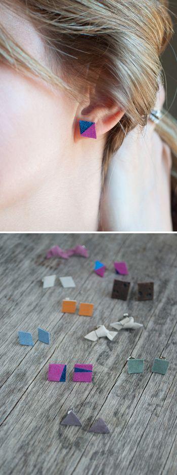 革を好きな形にカットして、裏に接着剤でピアス金具をつけるだけで、簡単にオリジナルのピアスができちゃいます。