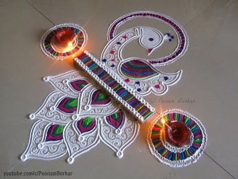 Beautiful and innovative border rangoli | Easy border rangoli designs by Poonam Borkar - YouTube