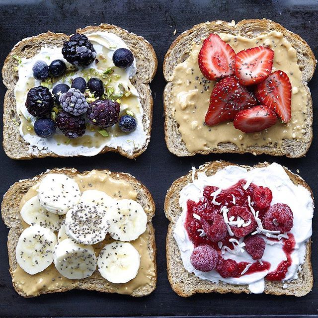 Toast Four Ways: Pb, Banana & Chia; Coconut Yogurt, Blueberries & Passionfruit; Almond Butter Strawberries & Coconut; Coconut Yogurt W/ Raspberry & Chia Jam