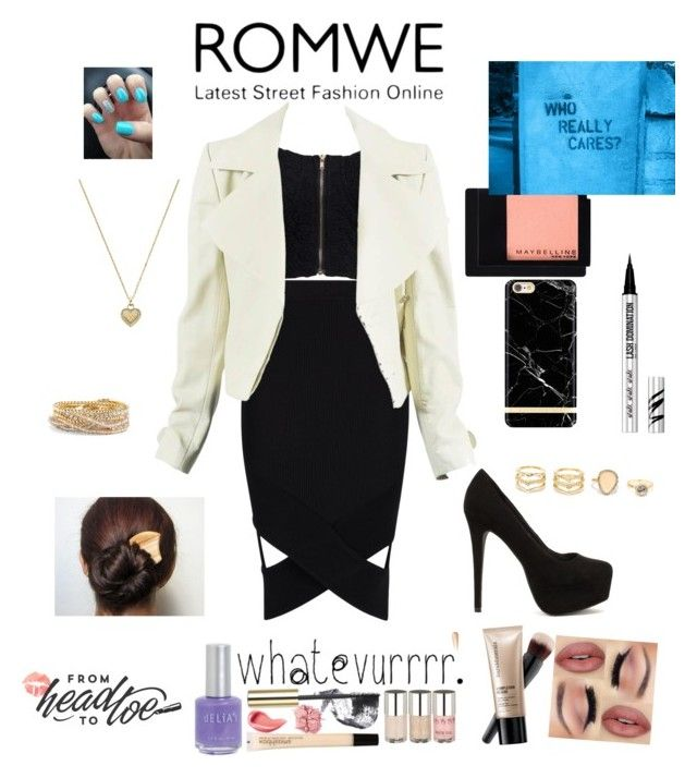 """romwe"" by maybeweridsowht ❤ liked on Polyvore featuring Boohoo, NLY Trend, Nly Shoes, Richmond & Finch, Maybelline, Bare Escentuals, LULUS, Michael Kors and Torrid"