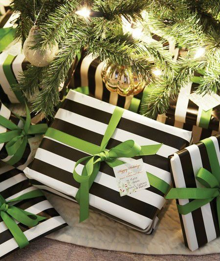 Black & white wrapping paper. Love this with the green.