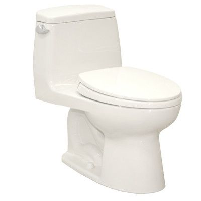 "Toto UltraMax® Eco 1.28 GPF Elongated 1 Piece Toilet with SoftClose Seat, 27.125"" H x 16.5"" W x 28"" D  $280.95"