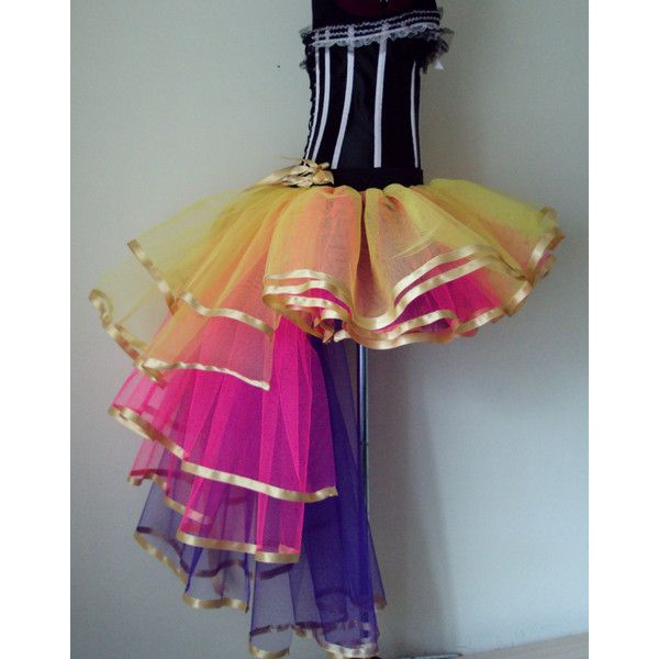 Carnival Mardi Gras Multi Coloured tutu skirt Burlesque Moulin Rouge... ($59) ❤ liked on Polyvore featuring skirts, dresses, dance, tutu skirts, long skirts, long tutu skirt, multi color tutu and long colorful skirts