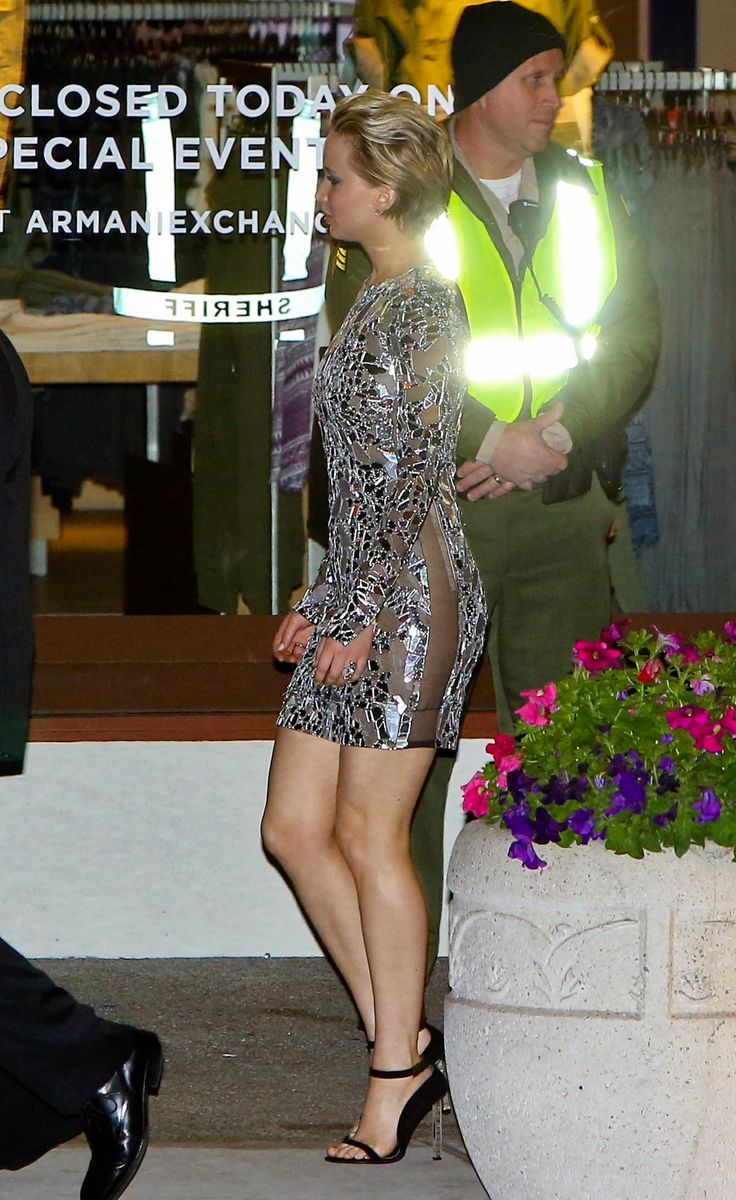 Jennifer Lawrence arriving at the Vanity Fair Oscar party