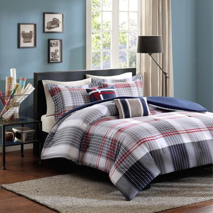 Twin Size Boys Comforter Set Blue Red Plaid 4 Piece Teens Bedding Pillows Sham #IntelligentDesign #Contemporary